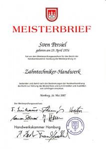 Der Meisterbrief unseres Zahntechniker-Meisters Sven Persiel