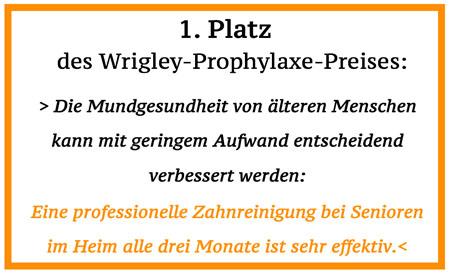 Die Forschungsarbeit von Herrn Privatdozent Dr. Alexander Hassel von der Poliklinik für Zahnärztliche Prothetik des Universitätsklinikums Heidelberg wurde ausgezeichnet mit dem 1. Platz des Wrigley-Prophylaxe-Preises anlässlich der Jahrestagung der Deutschen Gesellschaft für Zahnerhaltung 2009.