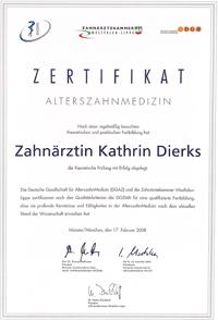 Zertifikat Zahnärztin Kathrin Stecher, geb. Dierks